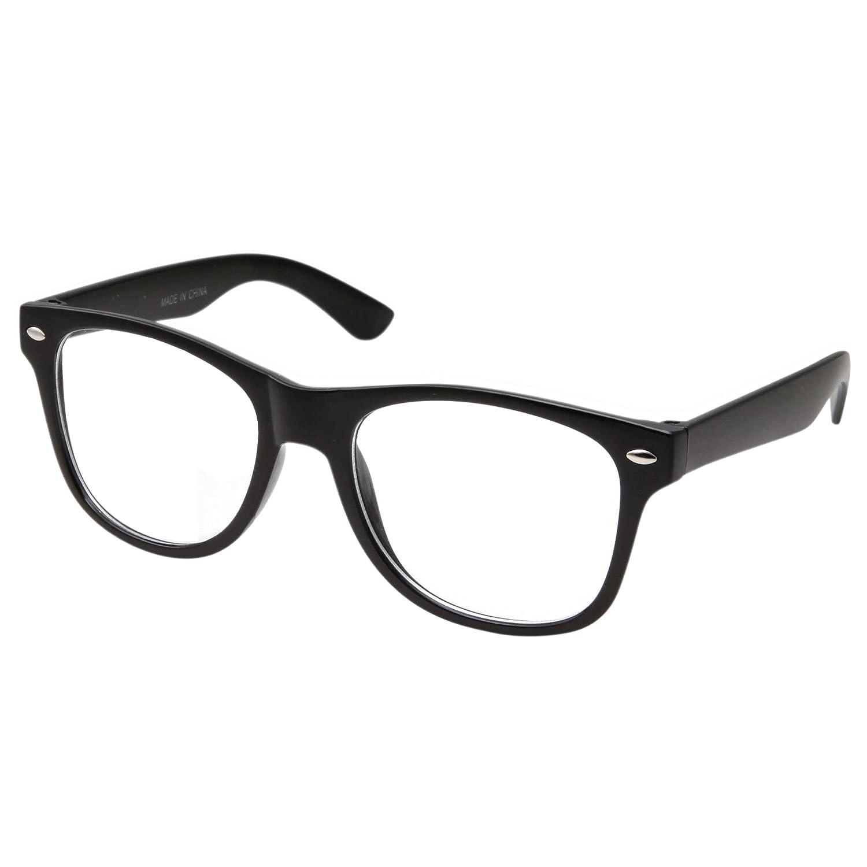 295fbd29890 Amazon.com  Retro NERD Geek Oversized BLACK Framed Clear Lens Eye Glasses  for Men Women  Clothing