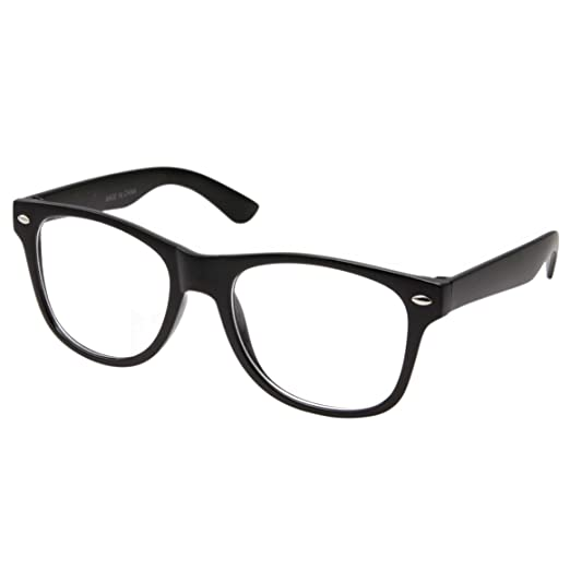 8fbda877edd Image Unavailable. Image not available for. Color  Retro NERD Geek  Oversized BLACK Framed Clear Lens Eye Glasses for Men Women