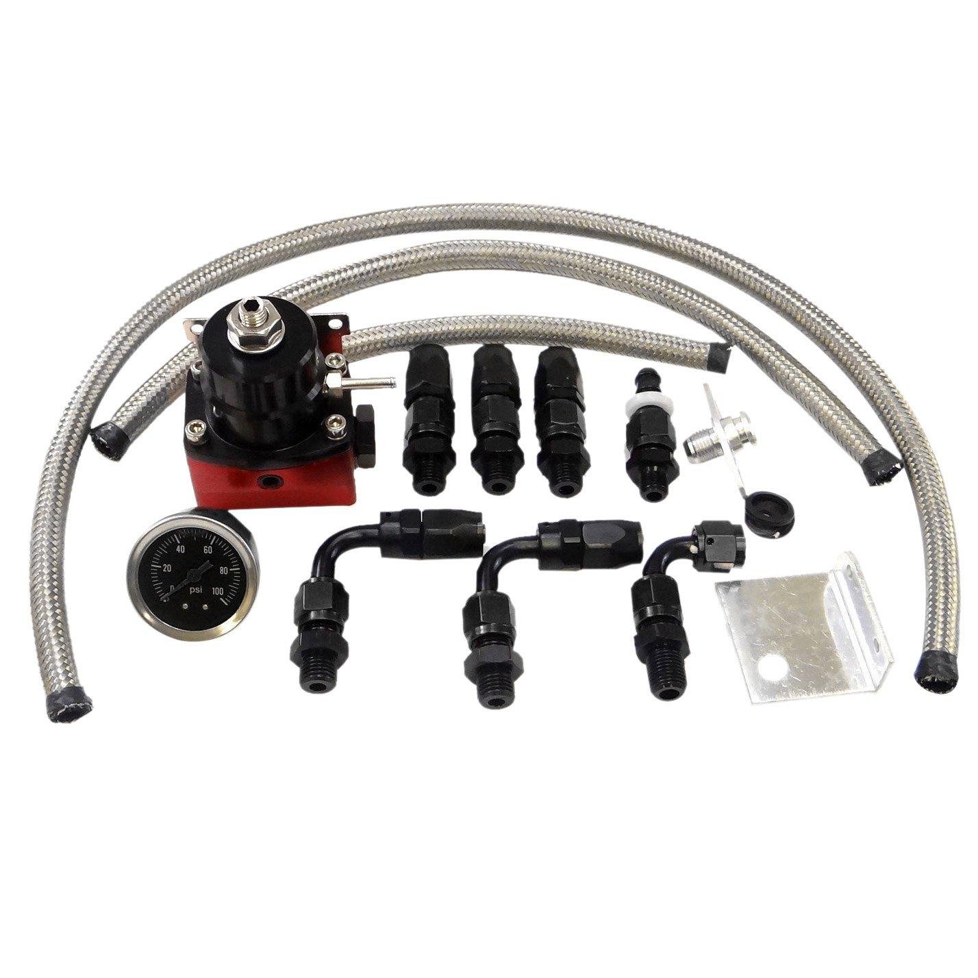 Universal Adjustable EFI Aluminum Fuel Pressure Regulator Kit with 0-100 psi Gauge AN6-6AN Fuel Line Hose Fittings (Black) by Maxon Auto Corp.