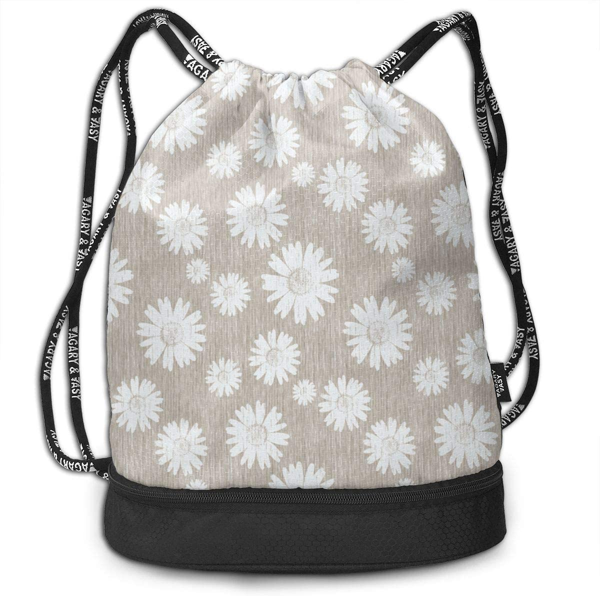 French Linen Daisy Antique White Drawstring Backpack Sports Athletic Gym Cinch Sack String Storage Bags for Hiking Travel Beach
