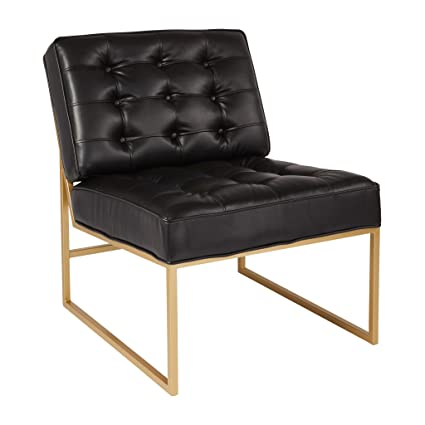 Avenue Six AVE SIX Anthony Chair With Tufted Faux Leather And Coated Gold  Frame, Black
