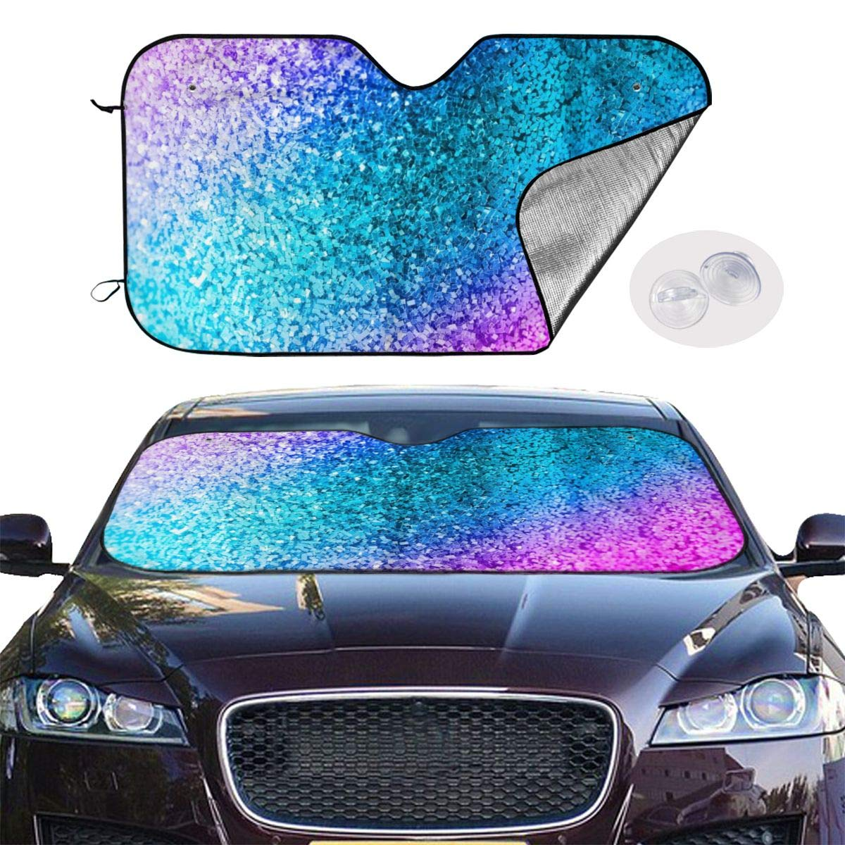 Colorful Glitter Car Windshield Sun Shade - Blocks UV Rays Sun Visor Protector, Sunshade to Keep Your Vehicle Cool and Damage Free,Easy to Use, Universal Size (M 55x30 Inches) by HE - Fashion