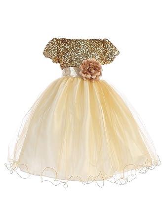 7a493b56d5 Amazon.com: Ellie Kids Little Girls Gold Sequin Tulle Wire Hem ...