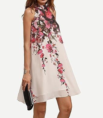Vestido de mujer, Lananas 2018 Mujeres Verano Elegante Flor rosa impresa Gasa Sin mangas Fiesta de Halter Mini Short Vestido blanco: Amazon.es: Ropa y ...
