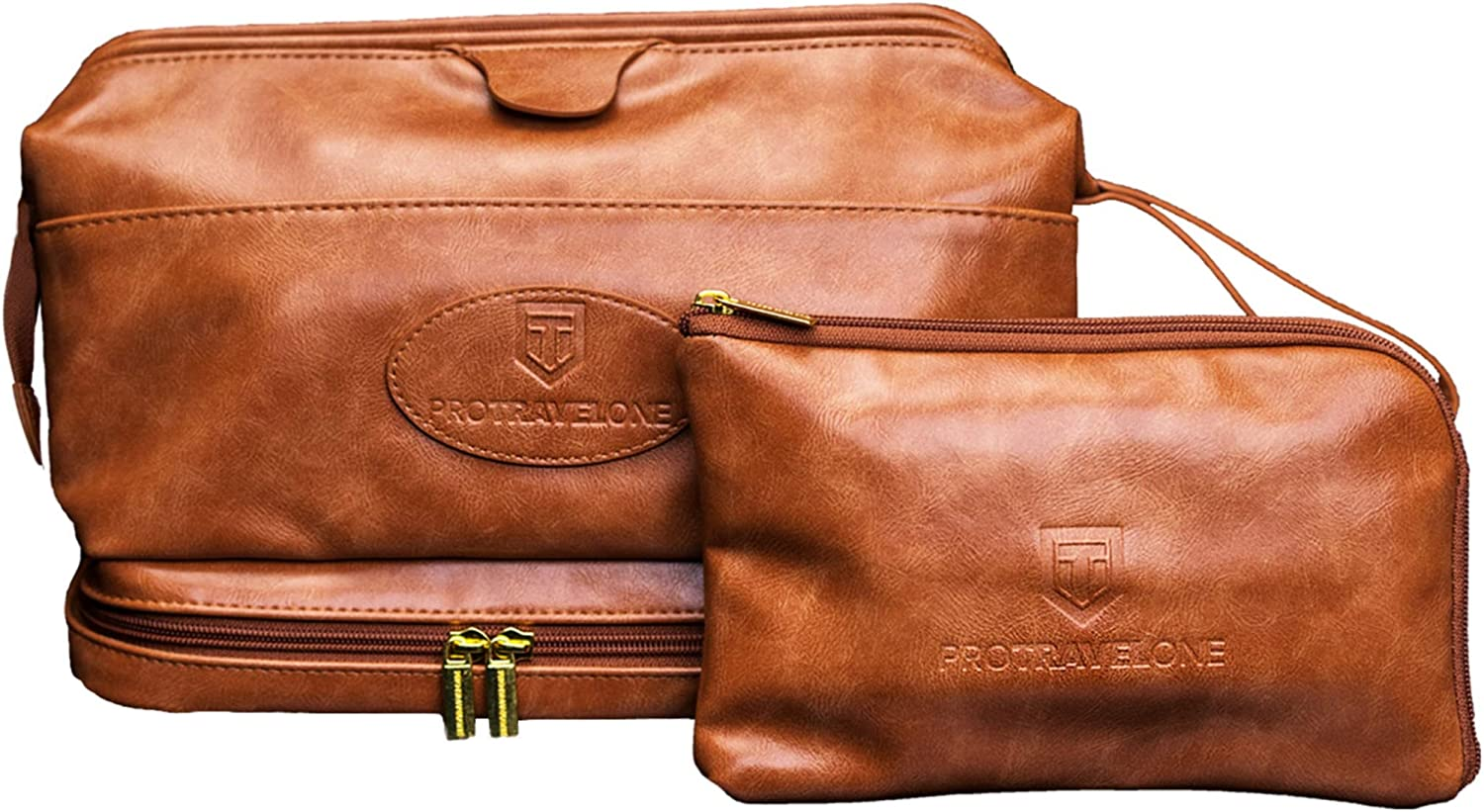 Protravelone Travel Toiletry Bag – Perfect Toiletry Bag for Men – Premium PU Leather Mens Toiletry Bag – Travel Kit for Men – Brown Toiletries Bag – Travel Bags For Toiletries – Travel Accessories