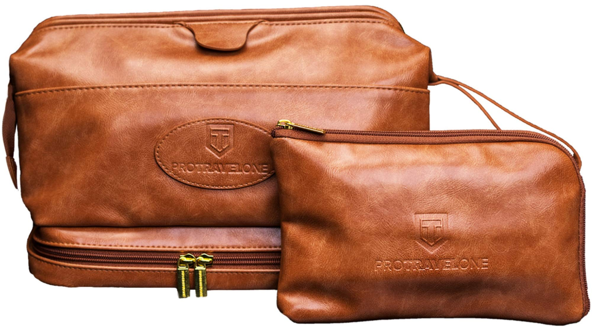 Protravelone Travel Toiletry Bag - Perfect Toiletry Bag for Men - Premium PU Leather Mens Toiletry Bag - Travel Kit for Men - Brown Toiletries Bag - Travel Bags For Toiletries - Travel Accessories by PROTRAVELONE