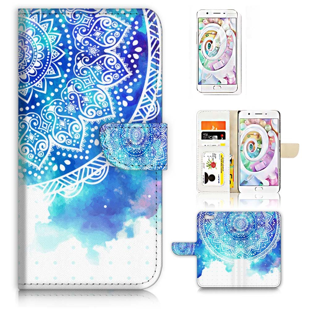 ( For OPPO R9S ) Flip Wallet Case Cover & Screen Protector Bundle! A20262 Mandala Art