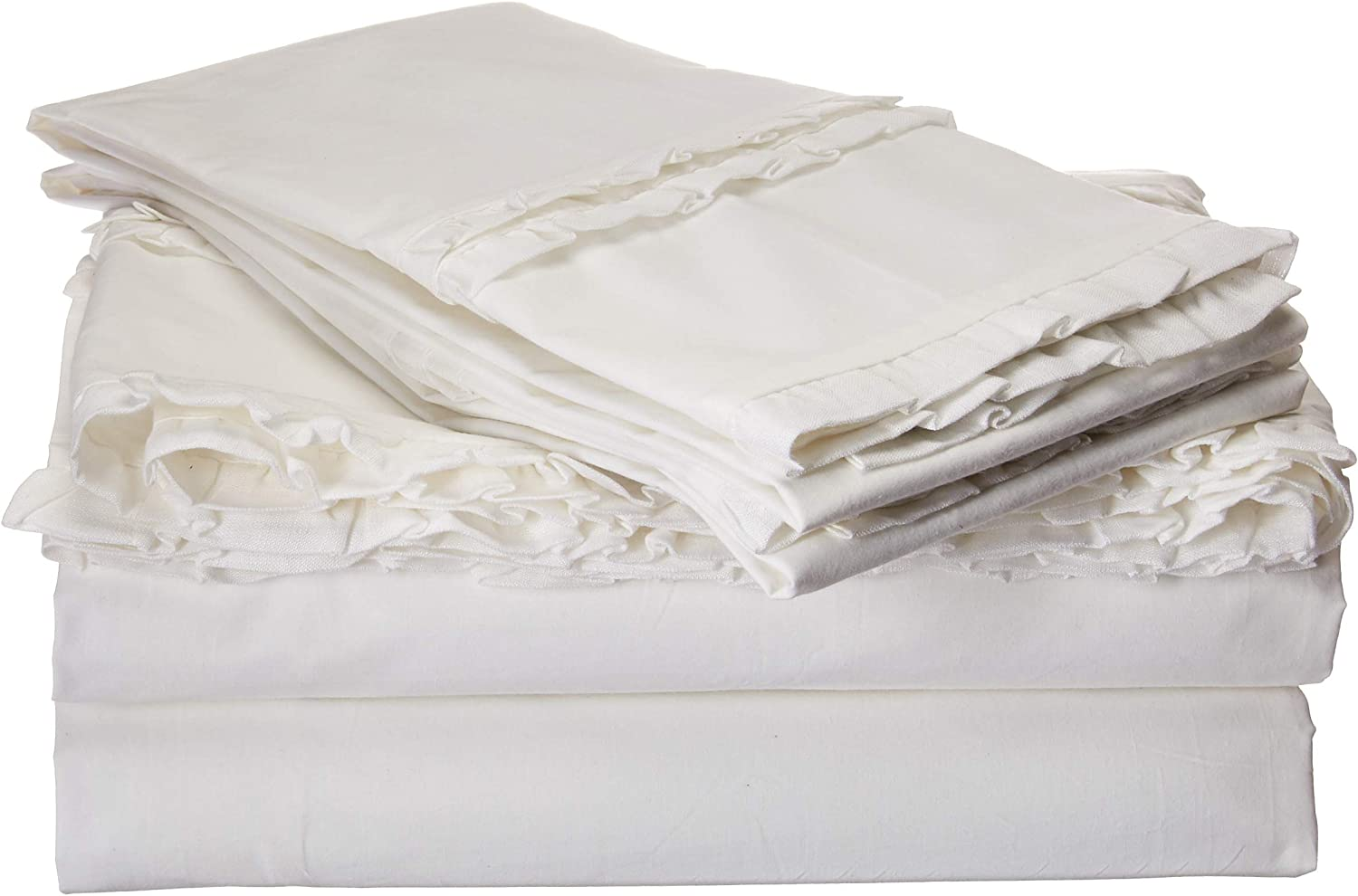 Limited time sale Be-You-tiful Home New product type Double Ruffle White King Set Sheet