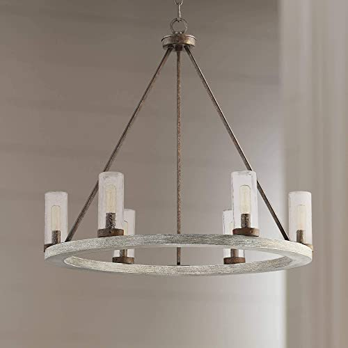 Lillian Gray Wood Bronze Wagon Wheel Chandelier 27 Wide Rustic Farmhouse Clear Seeded Glass Cylinder Shades 6-Light Fixture Dining Room House Island Entryway Bedroom – Franklin Iron Works