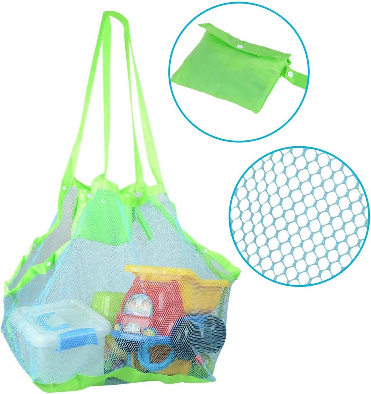 Abree Bolsa de Almacenaje Organizador Juguetes de Playa, Bolsa de Playa de Malla - Herramientas para Garantizar Juguete Niños / Ropa, 45 cm x 30 cm x 45 cm, Ideal para Verano (Color Verde)