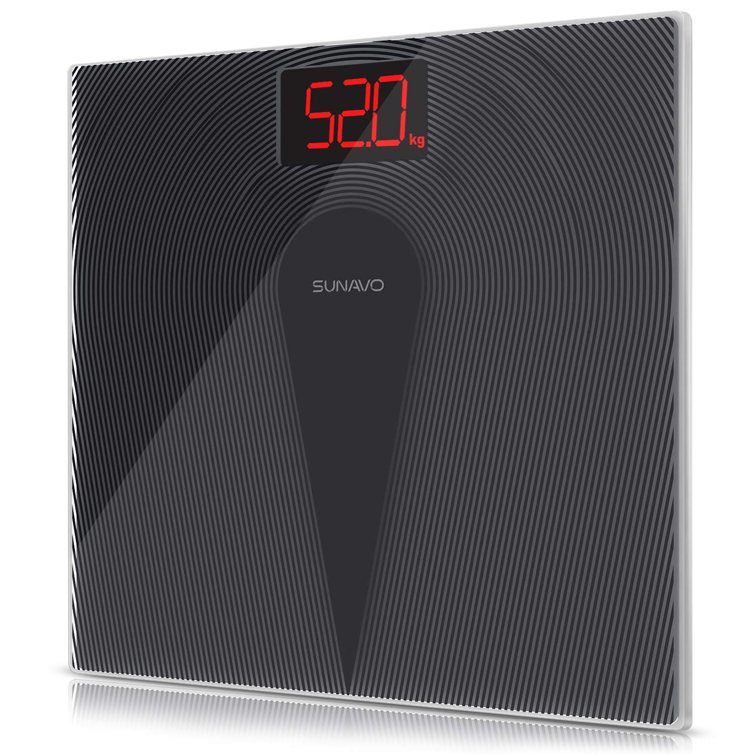 SUNAVO Digital Bathroom Scale 400 Pounds Step-On Technology Waterproof Fingerprint Body Weight Scale Non-Slip Design Backlit Displays Scale with Tempered Glass (Bathroom Scale)