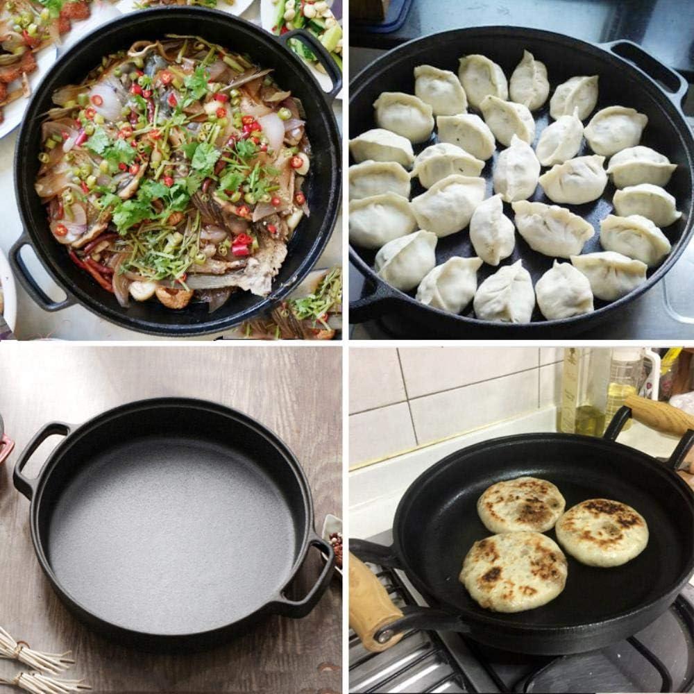 Mstr Poêle à paella multifonction en fonte anti-adhérente pour barbecue steak grill poêle oeuf crêpe poêle de cuisine non revêtue ustensiles de cuisine Sans Couvercle.