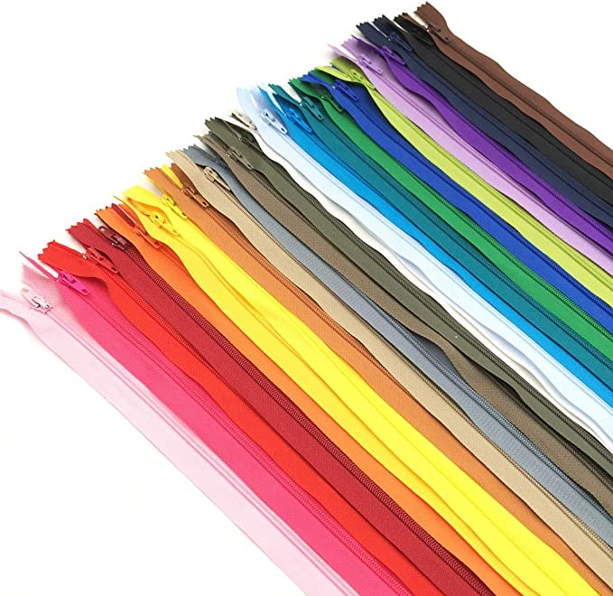JIUZHU 50pcs 14 Inch Zippers 14 Inches Nylon Coil Zipper Bulk for Sewing Crafts Tailor Bags 25 Colors 35cm