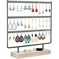 Orchid M Earrings Organizer Jewelry Display Stand, 3-Tier Earring Holder Rack for Hanging Earrings, Metal and Wood Basic…