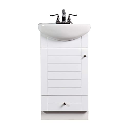 SMALL BATHROOM VANITY CABINET AND SINK WHITE – PE1612W NEW PETITE VANITY