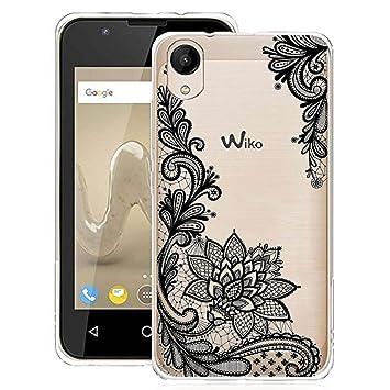 IJIA Funda para Wiko Sunny 2 (No se Aplica a Wiko Sunny 2 Plus) Transparente Vines Flores TPU Silicona Suave Cover Tapa Caso Parachoques Carcasa ...