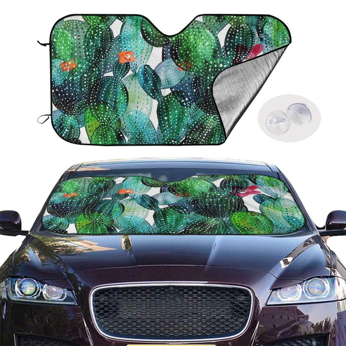 Windshield Sunshade for Car Foldable UV Ray Reflector Auto Front Window Sun Shade Visor Shield Cover, Keeps Vehicle Cool, Cactus 45 by Sha-de