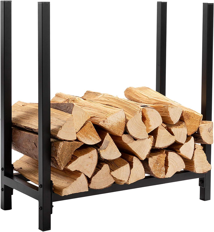 DOEWORKS Firewood Log Rack 2 FT Solid Firewood Storage Black Steel Firewood carrier Holderfor indoor/outdoor Fireplace