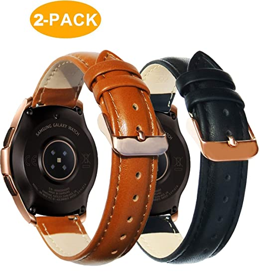 OTOPO Compatible Galaxy Watch 42mm Bands/Active 40mm Band Rose Gold Sets, 20mm Quick Release Leather Strap Replacement Band Bracelet for Samsung ...