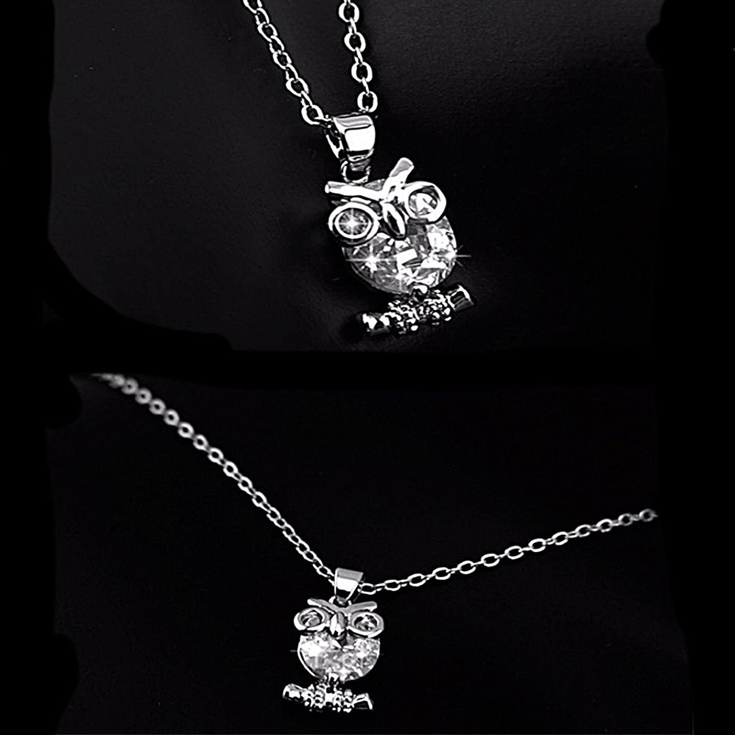 Zircon Pendants Owl Necklace For Women Crystal Heart Gold Sliver Long Necklace