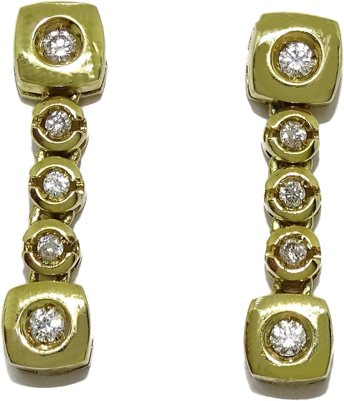 Pendientes con 0.22cts de diamantes y oro amarillo de 18K. Presión Never say never