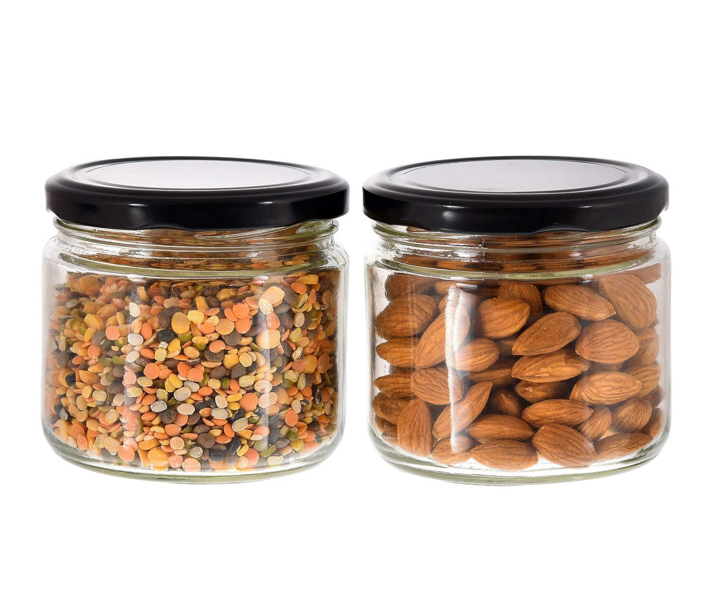 Machak Round Glass Jar for Kitchen Container for Storage Airtight – Pack of 2
