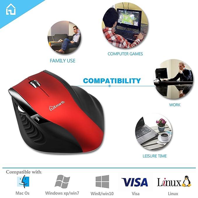 ... Reducción de ruido silencioso Haga clic ratón con receptor nano USB, diseño ergonómico, 5 botones 1600 ppp para PC/computadora/ordenador portátil, ...
