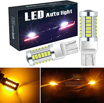 T20 Wedge 1 Pair Set of 2pcs Red Tail Light 9 LED Light Bulbs 7443