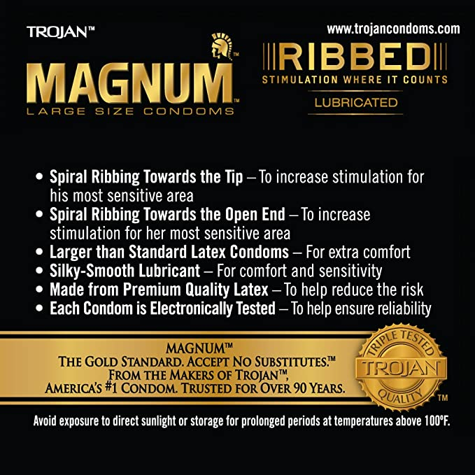 Amazoncom Magnum Ribbed Condoms 12ct Health Personal Care