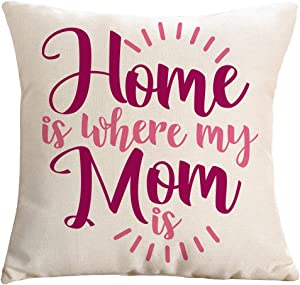 """Ogiselestyle Home is Where My Mom is Quote Throw Pillow Cover Home Decor Pillow Case Cotton Linen Cushion Cover for Sofa Couch 18""""x18"""""""