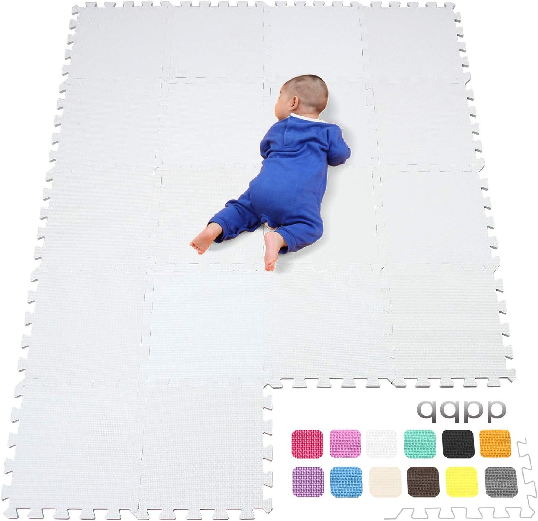 qqpp Alfombra Puzzle para Niños Bebe Infantil - Suelo de Goma EVA Suave. 18 Piezas (30*30*1cm), Blanco. QQC-Ab18N