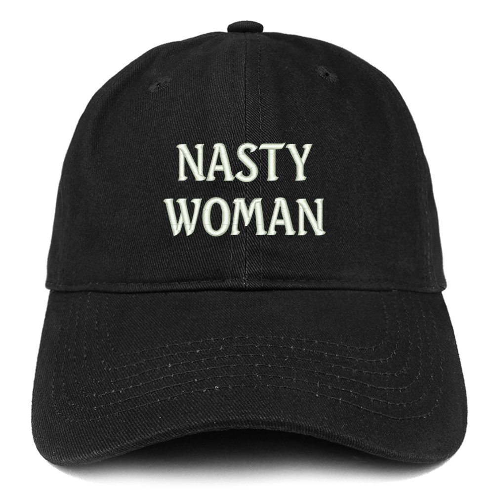 19fc05487c2e7 Trendy Apparel Shop Nasty Woman Embroidered Low Profile Adjustable Cap Dad  Hat - Black at Amazon Women s Clothing store