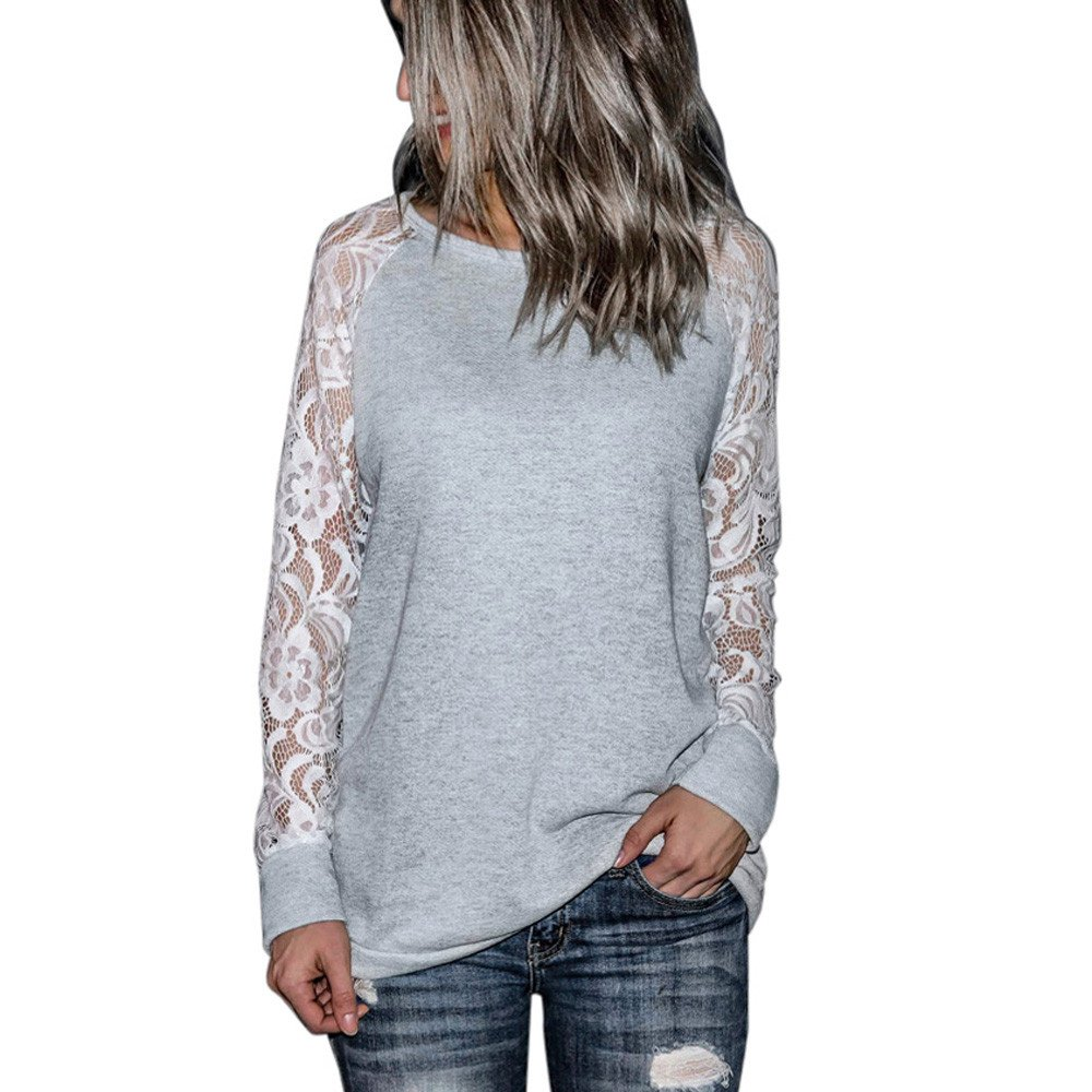 LEXUPE Women Tops Summer Comfortable Cool T-Shirts Casual Fashion Blouses Ladies Lace Long Sleeve Crop O-Neck Pullover T-Shirt Blouse Tops