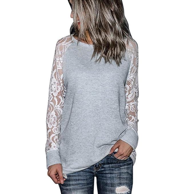 Longra ☂☂ Camiseta de Manga Larga con Cuello en V de Encaje Casual Camiseta Tops
