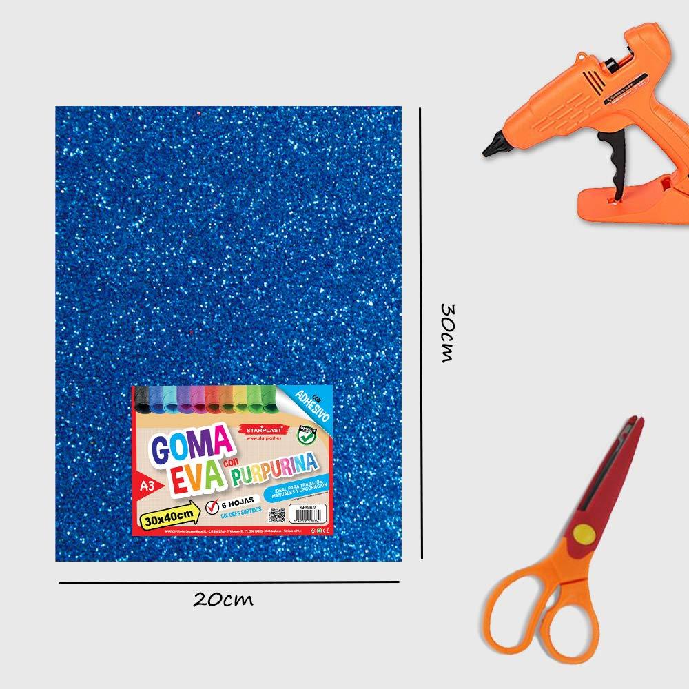 A4 Con Purpurina Pack de 10 Papel Goma Eva 20 cm x 30 cm Papel Foamy Estampado Liso Starplast colores varios para Decorar y Manualidades