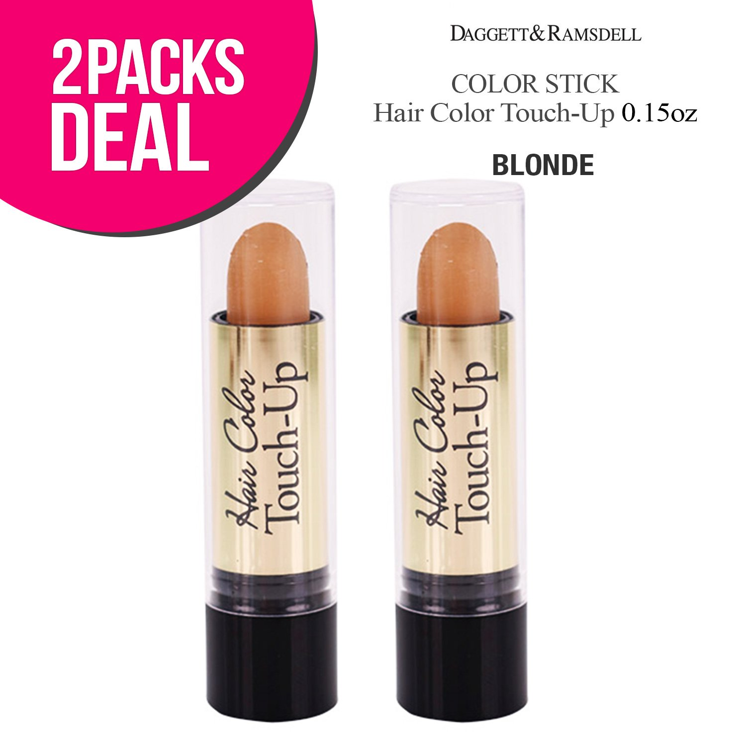 (2 PACK) Root Color Cover Stick Hair Color Touch-Up 0.15oz (BLONDE)
