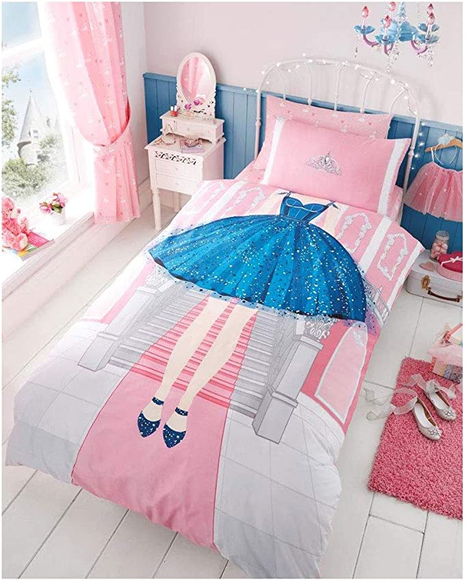 Gaveno Cavailia Kids Panel Duvet Set Ballerina Single Children Character Bedding 2 Piece Printed Reversible Bedlinen Easy Care Bedset 1 Quilt Cover and 1 Matching Pillow Case