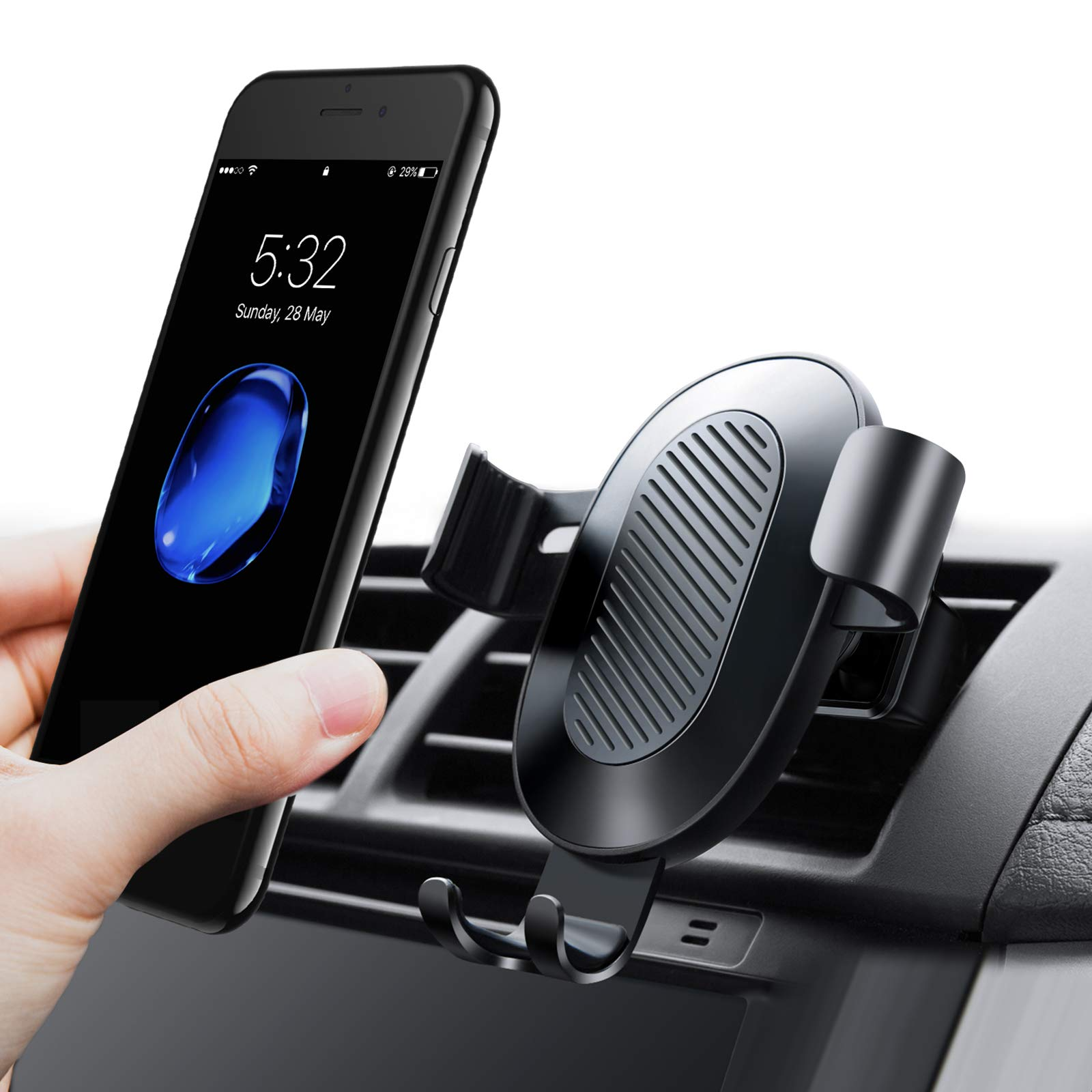 TORRAS Cell Phone Holder for Car, Gravity Auto-Clamping Air Vent Car Mount Holder Cradle Compatible for iPhone X / 8/8 Plus / 7/7 Plus Samsung Galaxy S9 / S9 Plus / S8 / S8 Plus and More – Black