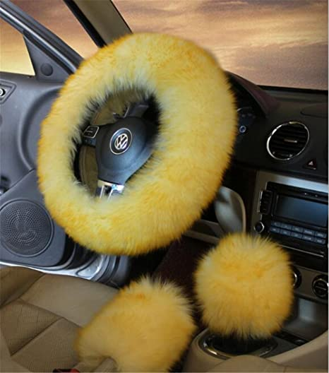 AUTO DECORATIVE ACCESSORIES Artificial Wool Plush Warmth Car Steering Wheel Sets