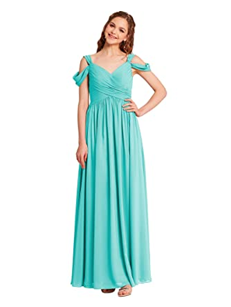 0ab941ce428f Alicepub Pleated Chiffon Maxi Bridesmaid Dress Long Formal Event Dress for  Party, Aqua Blue,