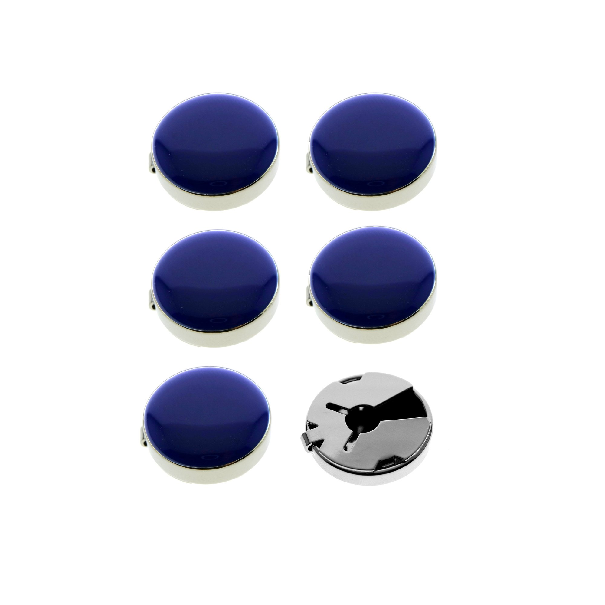 Ms.Iconic 17.5MM Blue Round Cuff Button Cover Cuff Links for Wedding Formal Shirt 6Pcs/Set (Blue)
