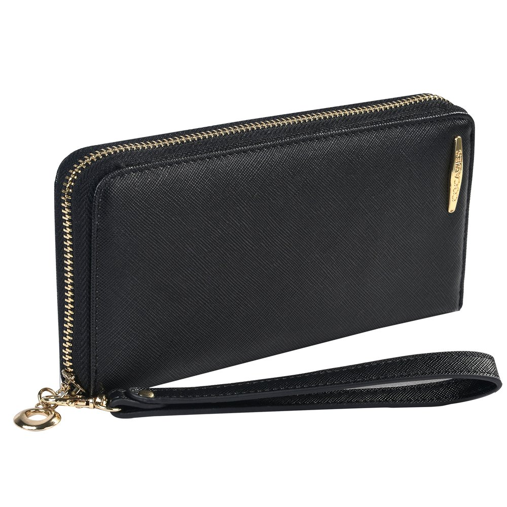 Clutch Wallet, COCASES RFID Protection Women Premium PU Leather Credit Card Holder Coin Pocket Zipper Purse Wrist Strap (Black)