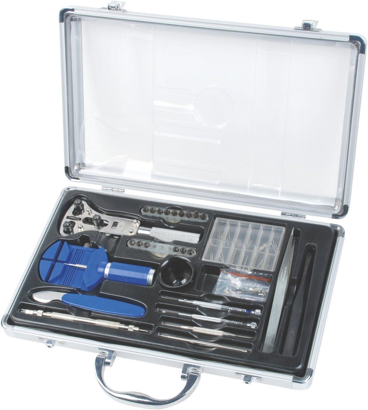DeliaWinterfel - Juego de herramientas para relojero con maletín de aluminio [versión: x8.3]: Amazon.es: Bricolaje y herramientas