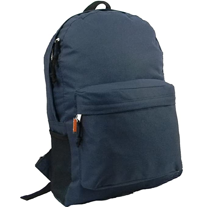 18in Classic Basic Backpack Simple School Book Bag Padded Back Side Pocket  Nvy 247dce6513481