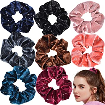 Shiny Metallic Soft Hair Scrunchies Elastic Hair Bands Ponytail Hair Tie Rope US