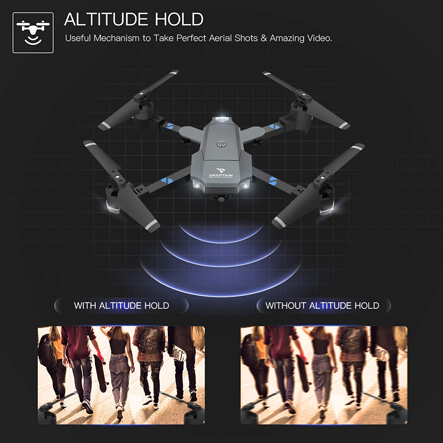 snaptain a15 foldable drone review of altitude hold feature