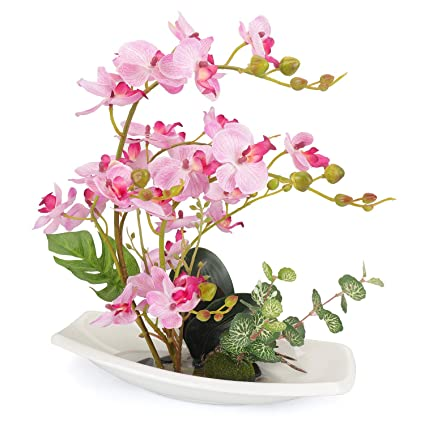 225 & YOBANSA Artificial Orchid Bonsai Flowers with Flower Pots Lifelike Real Touch Fake Flowers PU Phalaenopsis Silk Orchid Arrangements for Wedding Party ...
