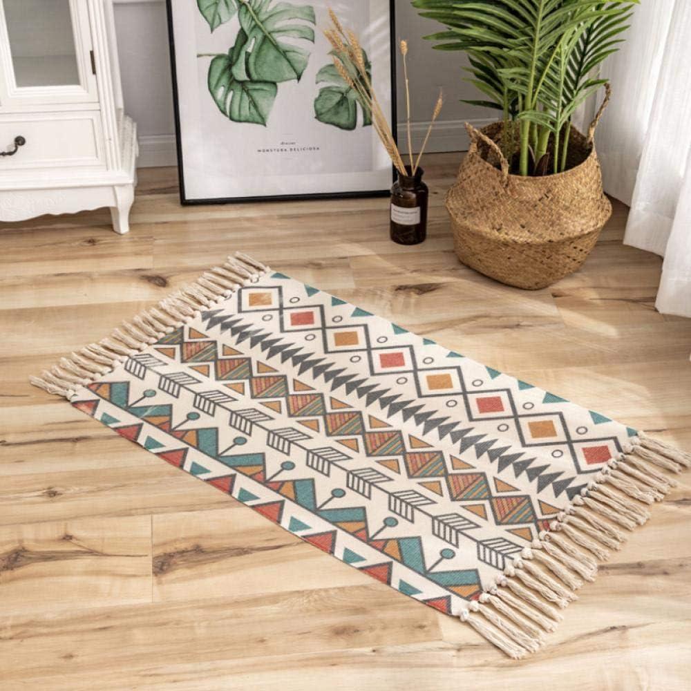 tessuto a mano per soggiorno colorato zerbino in cotone con nappe JMSHTU stanza dei giochi lavabile in lavatrice camera da letto
