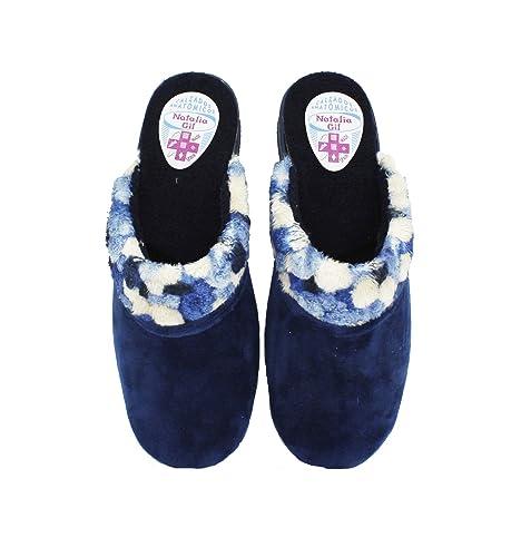 Natalia - Zapatillas de Casa Mujer Cuello Pompones Marino - Marino, 40: Amazon.es: Zapatos y complementos