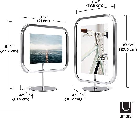 Umbra Infinity Sqround metal, cromado, 13 x 18 cm Marco de fotos para colgar o colocar de pie